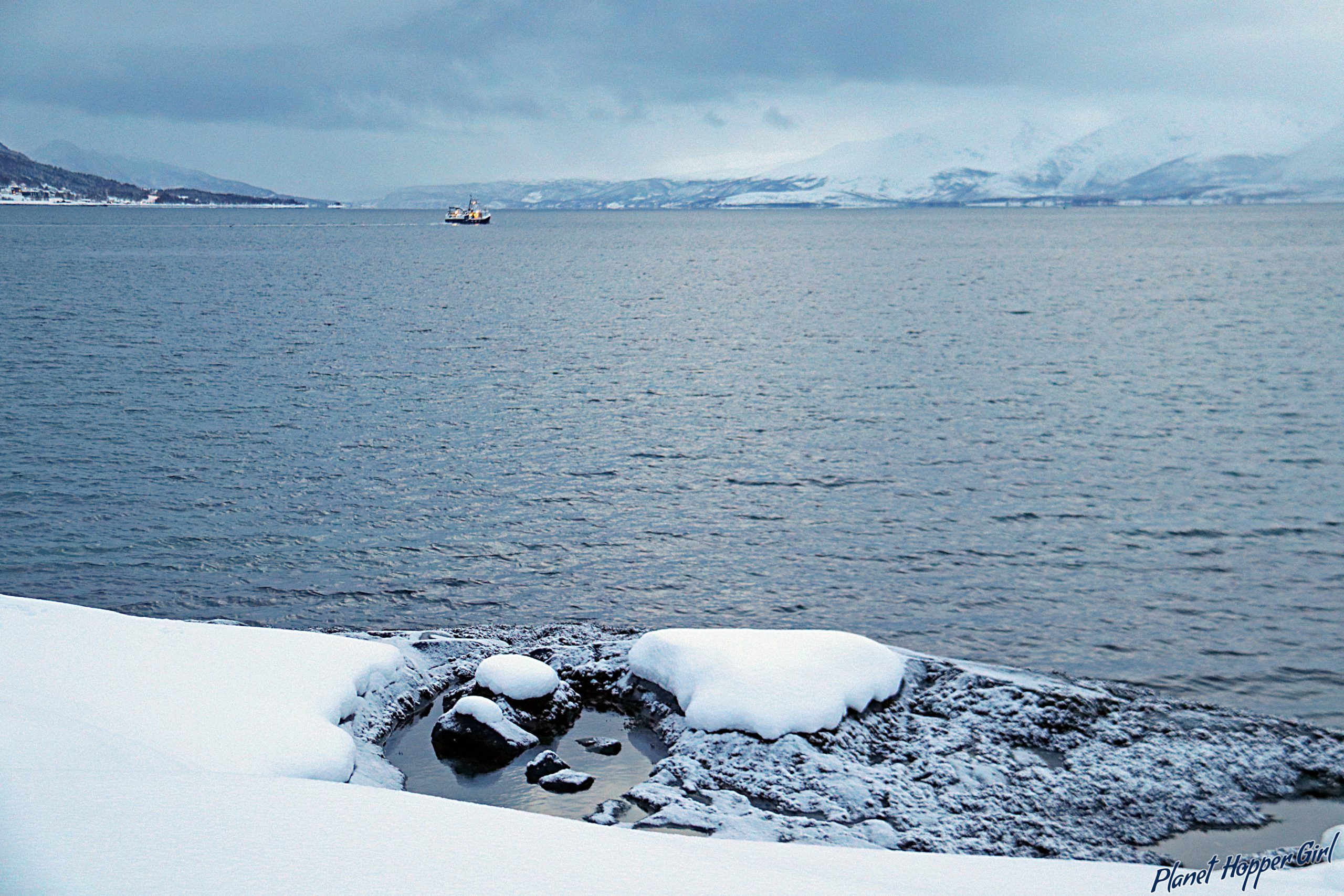 Looking over the Fjords in Tromso, Norway