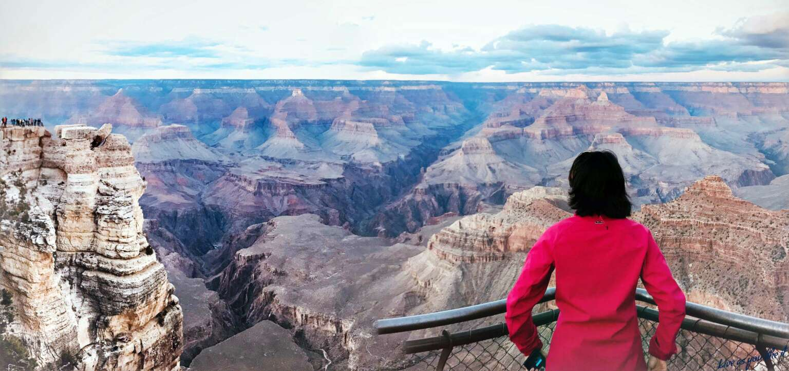 First sight of the Canyons at the entrance, Grand Canyon South Rim, Arizona