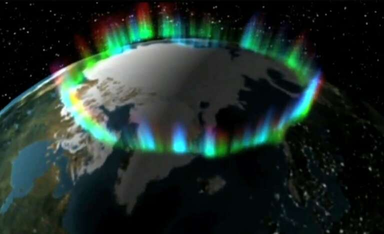 Aurora formation in the Arctic Circle, North Pole, The Planet Earth
