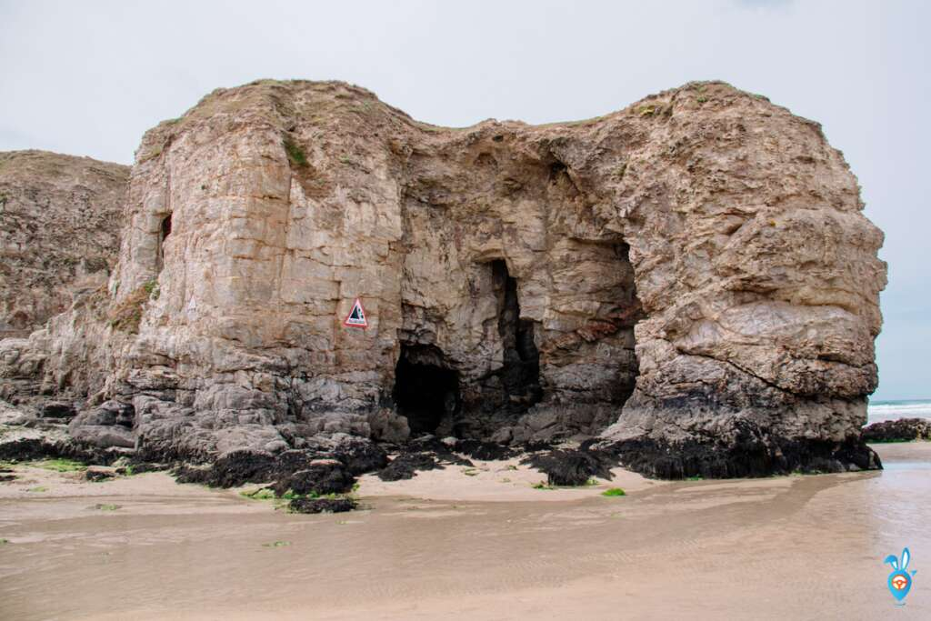 Perranporth beach cliff cove in cornwall