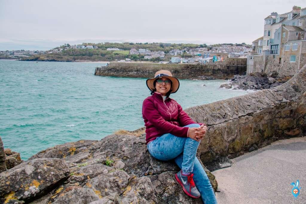 St Ives beach with a girl
